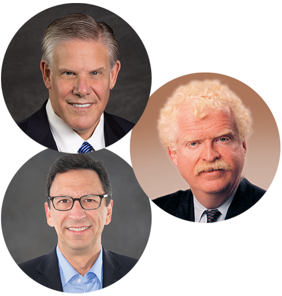 Headshot collage of Rick Pollack, Tom Nickels, and Frank Sesno for Annual Meeting Monday AM Plenary